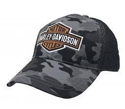 Harley-Davidson® Boys' Long Bar & Shield® Camo Print Baseball Cap | Mesh Back