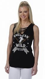 Liberty Wear American Made Apparel Women's American Wild Mustang Tank | Laced V-Neckline