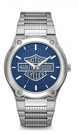 Harley-Davidson® Men's Stainless Steel Watch | Bar & Shield® Logo | Blue Patterned Dial | Safety Lock