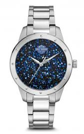 Harley-Davidson® Women's Stainless Steel Watch | Ultra-Fine Blue Rock Crystals from Swarovski®