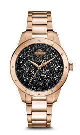 Harley-Davidson® Women's Rose Gold Tone Stainless Steel Watch | Ultra-Fine Black Rock Crystals from Swarovski®