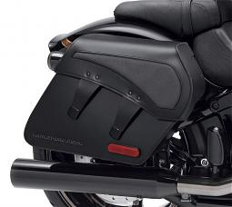 Harley-Davidson® H-D® Detachables™ Leather Saddlebag | Pro Street Breakout® | Black w/ Charcoal Panel