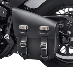 Harley-Davidson® Single Sided Swingarm Bag | Black Leather | '00-Later Softail® Models