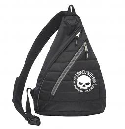 Harley-Davidson® Willie G® Skull Quilted Sling Backpack | Piggy-Back Luggage Strap