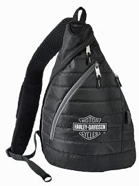 Harley-Davidson® Deluxe USB Quilted Travel Sling Backpack | Silver Bar & Shield® Logo | Portable Charging Option