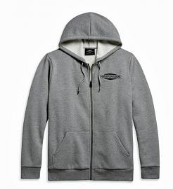 Harley-Davidson® Men's Stacked Logo Hoodie | Grey | Zip Front