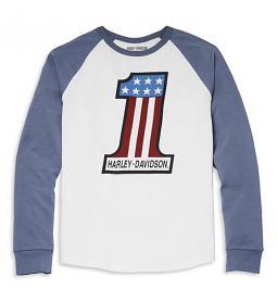 Harley-Davidson® Men's #1 Stars & Bars Racing Logo T-Shirt | Blue Raglan Sleeves | Long Sleeves