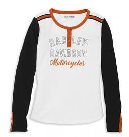 Harley-Davidson® Women's Iconic Raw-Edge Henley | Long Sleeves
