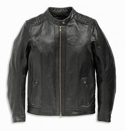 Harley-Davidson® Women's Electra Leather Jacket | Black | Mandarin Collar | Stud Details