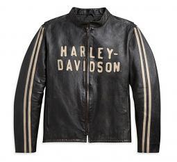 Harley-Davidson® Men's Sleeve Stripe Leather Jacket | Laser-Cut Appliqué Graphics