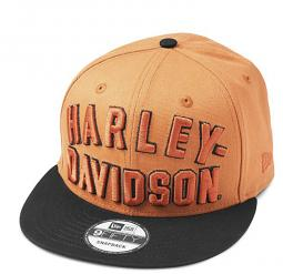 Harley-Davidson® Men's 9FIFTY® Embroidered Arched Graphic Baseball Cap | Orange | New Era® | One Size Fits Most