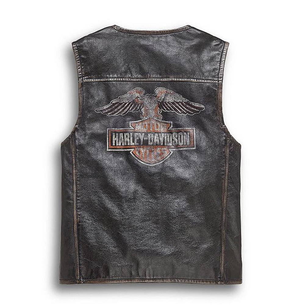 Harley-Davidson® Men's Eagle Graphic Distressed Leather Vest | Slim Fit