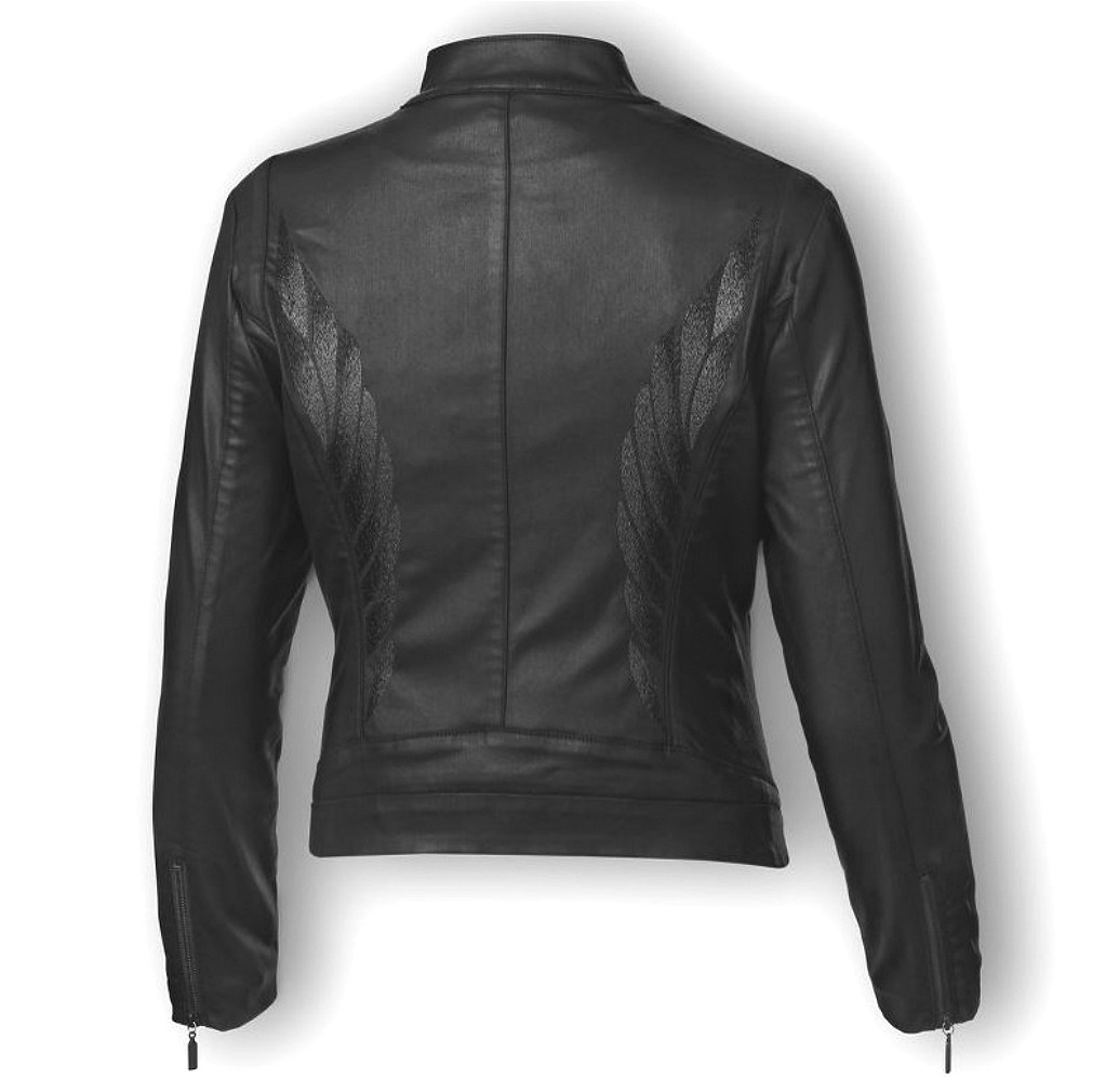 Harley-Davidson® Women's Wing Back Coated-Fabric Jacket | Metallic Embroidery