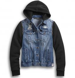 Harley-Davidson® Women's Denim Jacket | Removable Sleeves & Hood