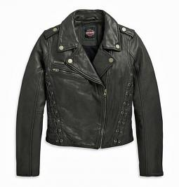 Harley-Davidson® Women's Lace-Up Leather Casual Jacket | Asymmetrical Zipper | Lacing Detail | Slim Fit