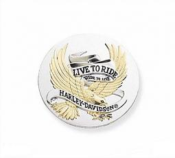 Harley-Davidson® Medallion | Live to Ride Collection | 3.5 Inch | Chrome & Gold