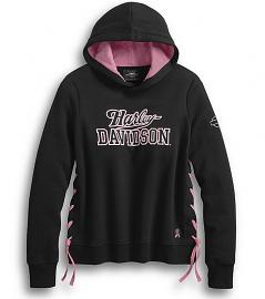 Harley-Davidson® Women's Pink Label Pullover Hoodie | Side Lacing