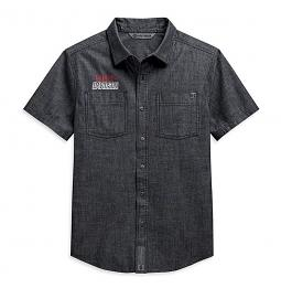 Harley-Davidson® Men's Black Chambray Woven Shirt | Short Sleeves | Slim Fit