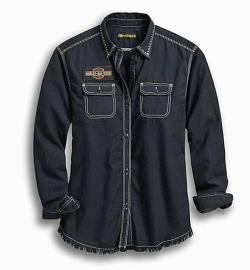 Harley-Davidson® Women's Studded Shirt | Raw Edge Hem | Long Sleeves