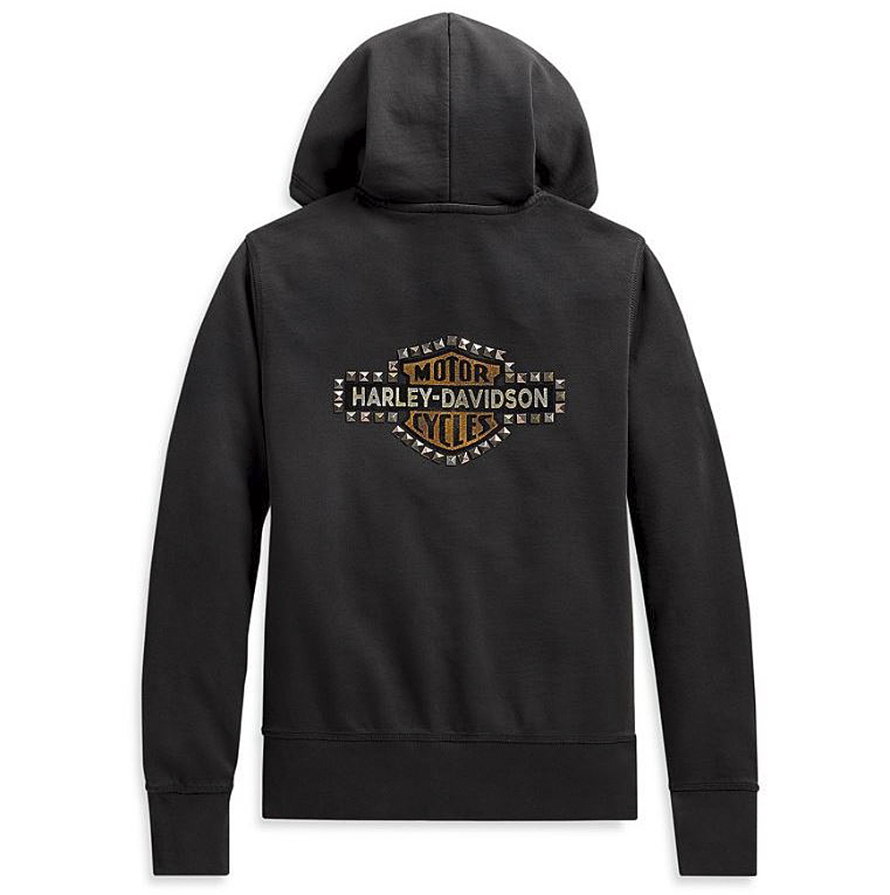 Harley-Davidson® Women's Studded Vintage Logo Hoodie | Lined Draw-String Hood