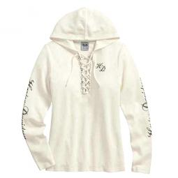 Harley-Davidson® Women's Scroll Skull Hooded Henley | Lace-Front | Off-White