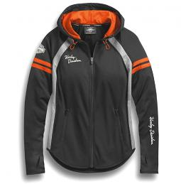 Harley-Davidson® Women's Performance Mesh Accent Hoodie | Perforated Reflective Panels | Integrated Toggle Hood