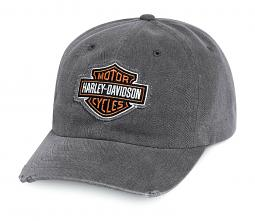 Harley-Davidson® Men's Grey Frayed Logo Baseball Cap | One Size Fits Most
