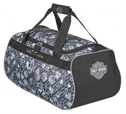 Harley-Davidson® Grey Tattoo Sports Duffel Bag | Adjustable Strap