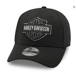 Harley-Davidson® Men's Tonal Bar & Shield® Logo 39THIRTY® Baseball Cap | Grey On Black | New Era®