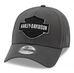 Harley-Davidson® Men's Tonal Bar & Shield® Logo 39THIRTY® Baseball Cap | Black On Grey | New Era®