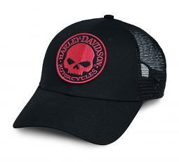 Harley-Davidson® Men's Orange Willie G® Skull Trucker Cap | Mesh Back | One Size Fits Most