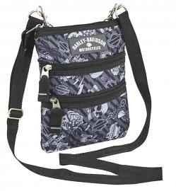 Harley-Davidson® Women's Grey Tattoo Crossbody Bag | Sling Bag | Hip Bag