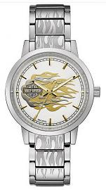 Harley-Davidson® Women's Stainless Steel Silver Flames Watch
