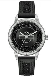 Harley-Davidson® Women's Black Swarovski® Crystal Watch | Stainless Steel Case | Black Leather Strap