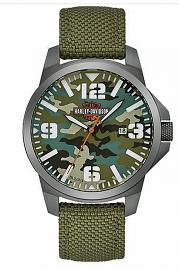 Harley-Davidson® Men's Green Camo Stainless Steel Watch | Gunmetal Plated