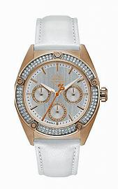 Harley-Davidson® Women's Rose-Gold-Tone Stainless Steel Chronograph Watch | Swarovski® Crystals | White Leather Band