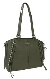 Harley-Davidson® Women's Ball & Chain Satchel | Adjustable/Detachable Strap | Olive