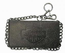 "Harley-Davidson® Men's Burnished Bar & Shield® Tall Biker Wallet | Tri-Fold | RFID Protection | Zipper Coin Pocket | 19"" Chain"