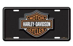 Harley-Davidson® Bar & Shield® Stamped Metal Front Plate | Black & Orange
