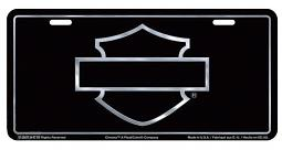 Harley-Davidson® Black Front License Plate | Silver-Tone Bar & Shield® Silhouette