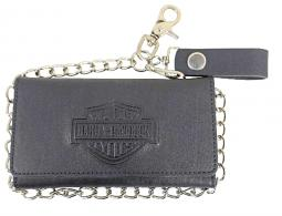 "Harley-Davidson® Men's Bar & Shield® Tall Biker Tri-Fold Wallet | Zip Coin Pocket | 19"" Biker Chain"