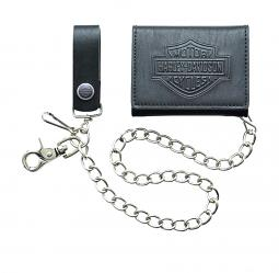 "Harley-Davidson® Men's Bar & Shield® Short Biker Wallet | Zip Coin Pocket | Tri-Fold | 19"" Biker Chain"