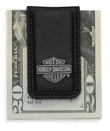 Harley-Davidson® Men's Bar & Shield® Medallion Money Clip | Black Leather | Magnetic Close