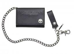 "Harley-Davidson® Men's Skull Medallion Medium Biker Wallet | Tri-Fold | 19"" Biker Chain"