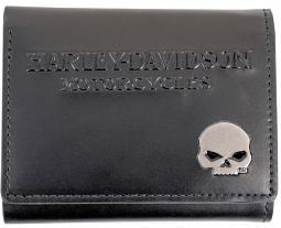 Harley-Davidson® Men's Skull Medallion Tri-Fold Wallet