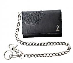 "Harley-Davidson® Men's Medium Tri-Fold Biker Wallet | Bar & Shield® Logo | Antique Nickel Core #1 Medallion | 19"" Biker Chain"