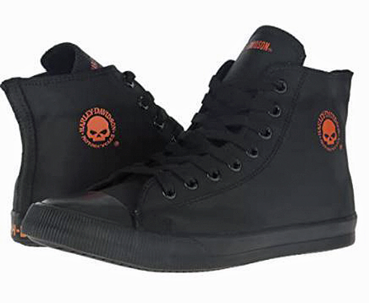 HARLEY-DAVIDSON® FOOTWEAR Men's Baxter Leather High Top Sneakers | Lifestyle Casual | Black & Orange