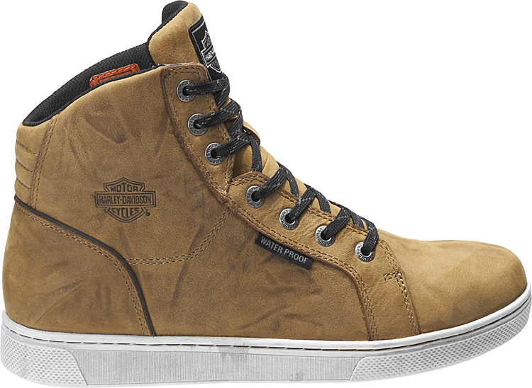 HARLEY-DAVIDSON® FOOTWEAR Men's Bateman Waterproof Motorcycle Riding Sneakers | Brown | Reflective Materials