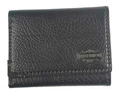 Harley-Davidson® Men's Gunmetal Leather Tri-Fold Wallet | Bar & Shield® Medallion