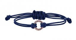 Harley-Davidson® Women's Rose Gold-Plated Open Circle Bracelet | Blue Waxed Cord